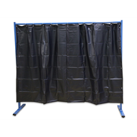 1-panel mobile protective screen with curtain, with welding curtain S9, dark gre